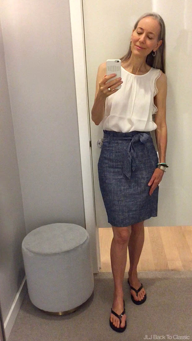 Classic-Fashion-Ann-Taylor-Lace-Trim-Tank-and-Chambray-Paper-Bag-Skirt