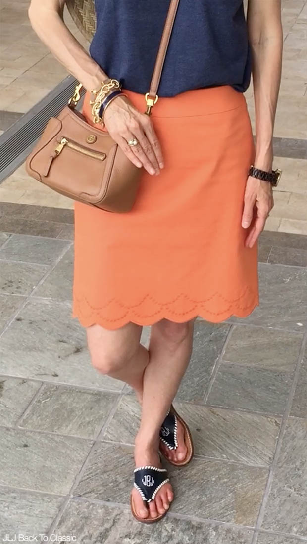 Classic-Fashion-Over-40-50-Talbots-Scalloped-Skirt-Jack-Rogers-Monogrammed-Sandals