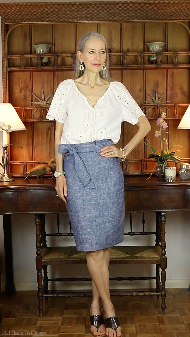 Cynthia-Rowley-White-Eyelet-Top-Ann-Taylor-Chambray-Paper-Bag-Skirt