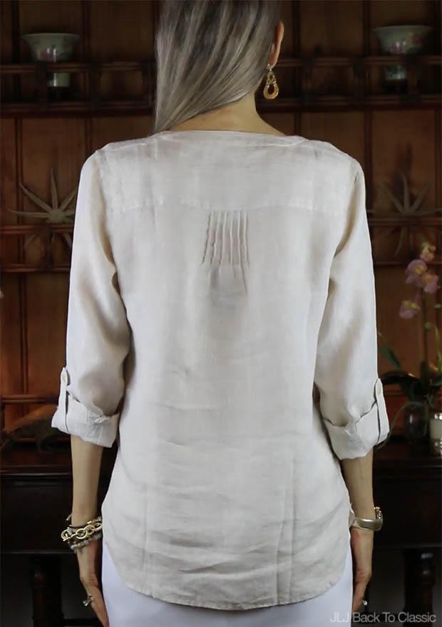 Classic-Fashion-Talbots-Linen-Camp-Shirt-Back