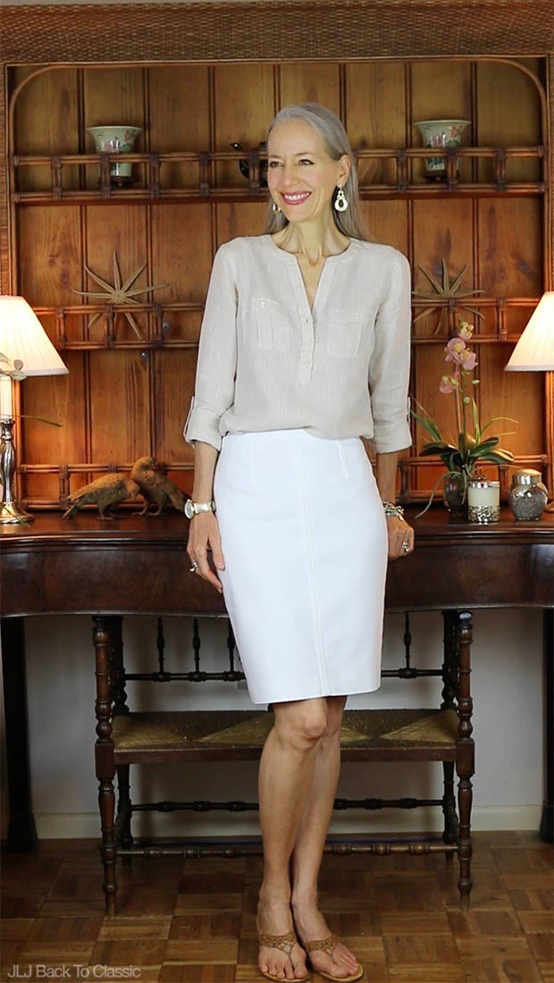 Classic-Fashion-Talbots-Linen-Camp-Shirt-Ann-Taylor-White-Pencil-Skirt