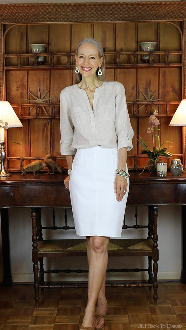 Janis-Lyn-Johnson-Talbots-Linen-Camp-Shirt-Ann-Taylor-White-Pencil-Skirt