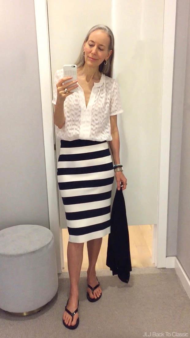 Classic-Fashion-Over-40-Ann-Taylor-Clip-Jacquard-Popover-Stripe-Sweater-Skirt