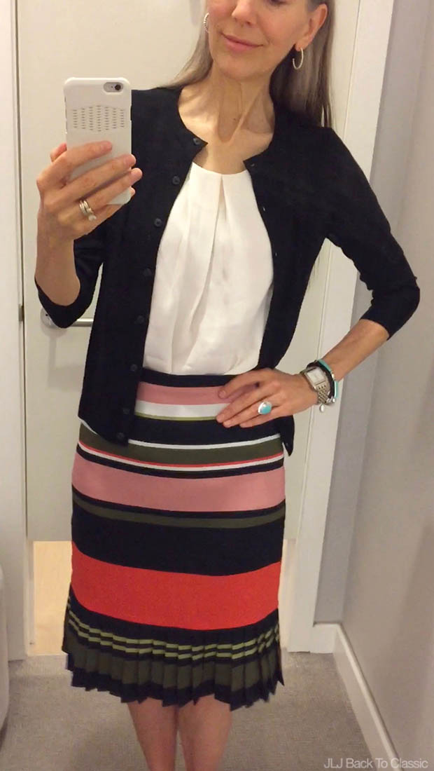 Classic-Fashion-Over-40-Ann-Taylor-Ann-Cardigan-and-Fluted-Stripe-Skirt