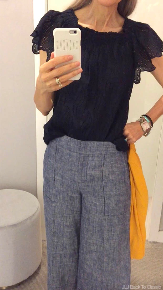 Classic-Fashion-Ann-taylor-Off-The-Shoulder-Scallop-Top-Chambray-Marina-Pant