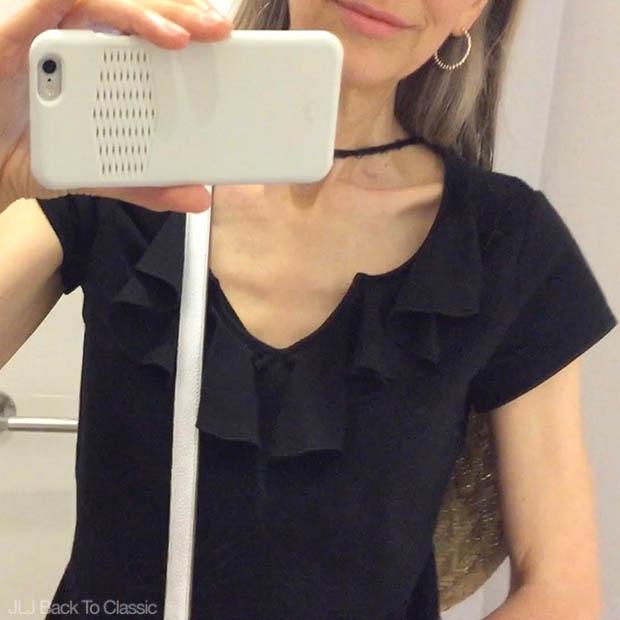 Classic-Fashion-Over-40-50-Isaac-Mizrahi-Black-Ruffle-Front-Tee