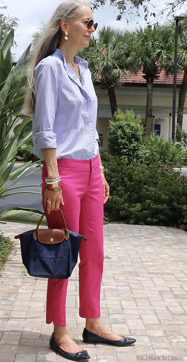 Preppy-Fashion-Over-40-Blue-Striped-Shirt-Pink-Pants-Longchamp-Le-Pliage
