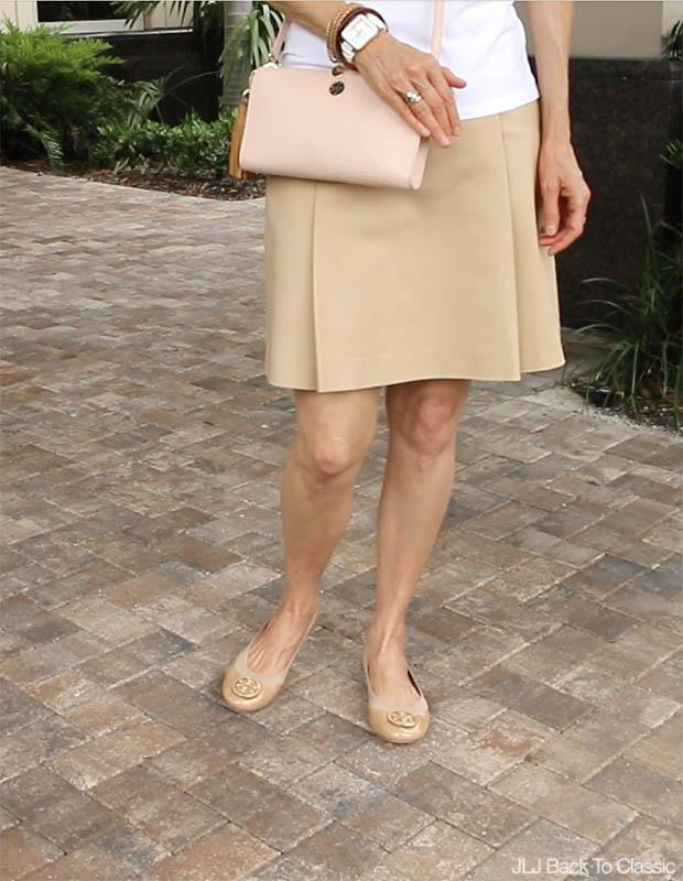 Classic-Fashion-Ralph-Lauren-Khaki-Skirt-Tory-Burch-Caroline-Flat-Camellia-pink