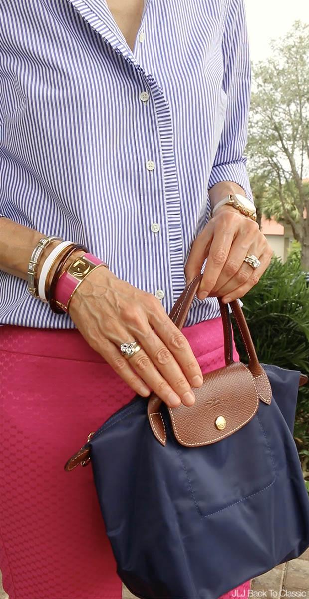 Preppy-Fashion-Over-40-C-Wonder-Enamel-Initial-Bangle-Longchamp-Le-Pliage