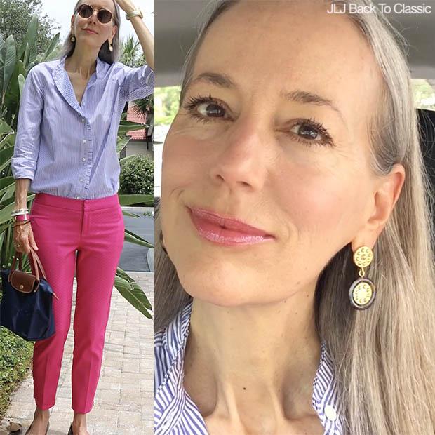 Classic-Preppy-Fashion-Over-40-Striped-Shirt-Pink-Pants-Longchamp-Le-Pliage
