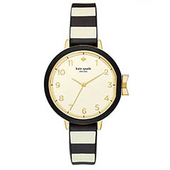 Classic-Fashion-Over-40-Kate-Spade-Black-Cream-Silicone-Park-Row-Watch