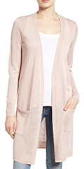 Classic-Fashion-Style-Over-40-Halogen-Pink-Long-Linen-Cardigan