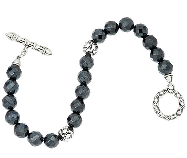 Classic-Style-John-Hardy-and-Judith-Ripka-Sterling-Silver-Taj-Texture-Hematite-Bracelet