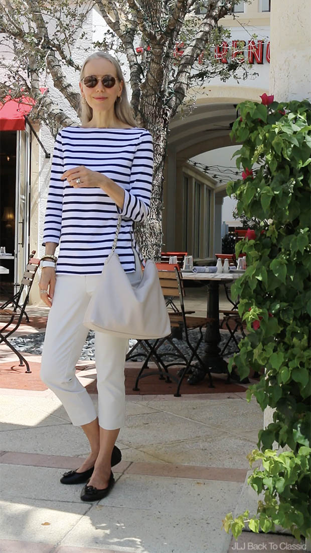 Classic-Style-Over-40-Black-White-Striped-Tee-Chinos-Janis-Lyn-Johnson