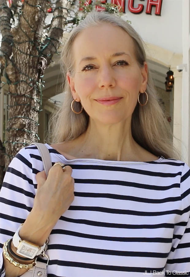 Classic-Style-Over-40-50-Black-White-Striped-Tee-Janis-Lyn-Johnson