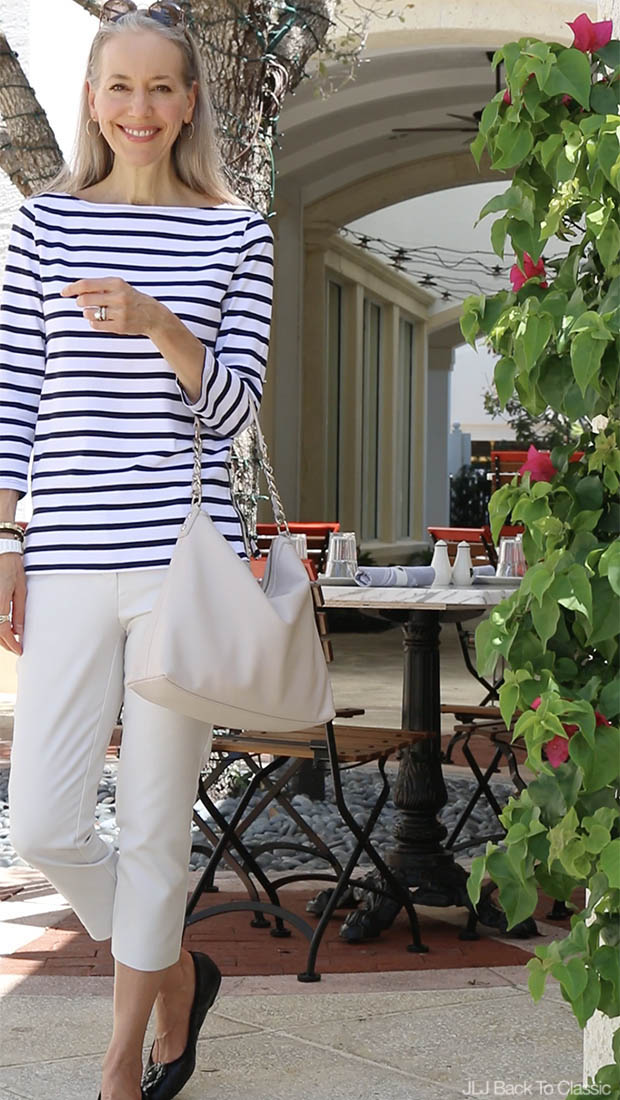 Classic-Style-Black-And-White-Striped-Tee-Chinos-The-French-Brasserie-FL