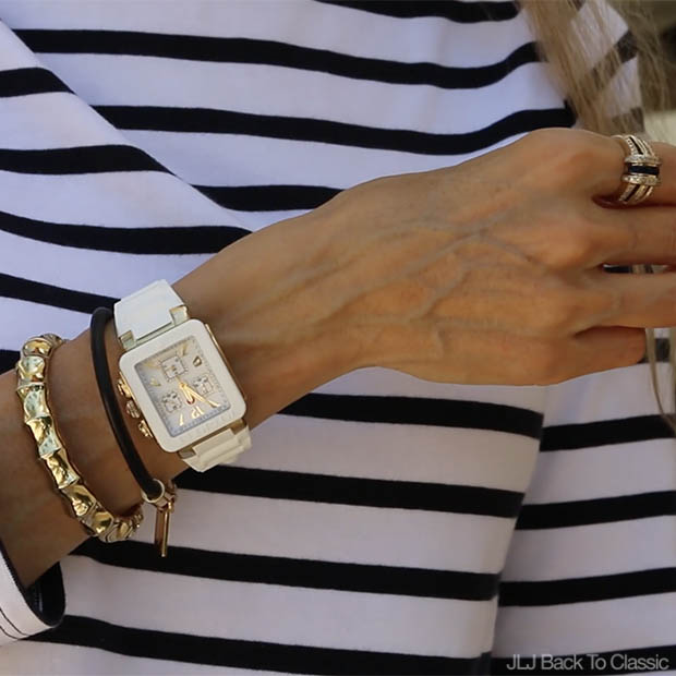 Classic-Fashion-Style-Over-40-Michele-White-Watch-Striped-Tee