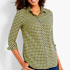 Talbots-Classic-Casual-Shirt-Buffalo-Checks-Saffron-Classic-Fashion-Over-40