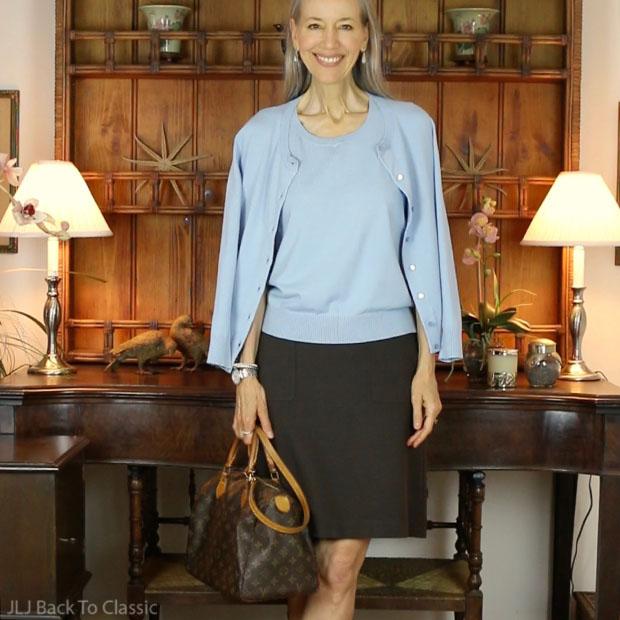 Talbots-Blue-Cardigan-Shell-Brown-Louis-Vuitton-Monogram-Canvas-Speedy-30