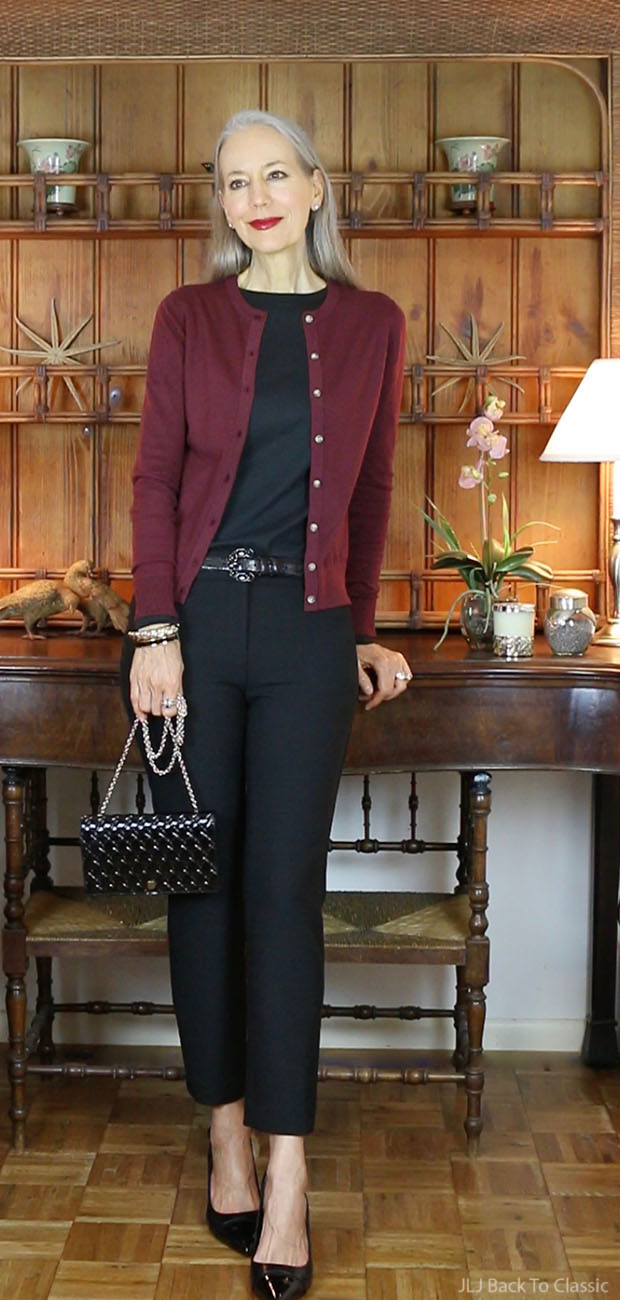 Ann-Taylor-Cardigan-Black-Ankle-Pant-Isaac-Mizrahi-Long-Sleeve-Cotton-Tee