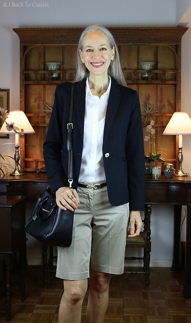 Black-Blazer-White-Talbots-Button-Up-Shirt-Ann-Taylor-Chino Shorts