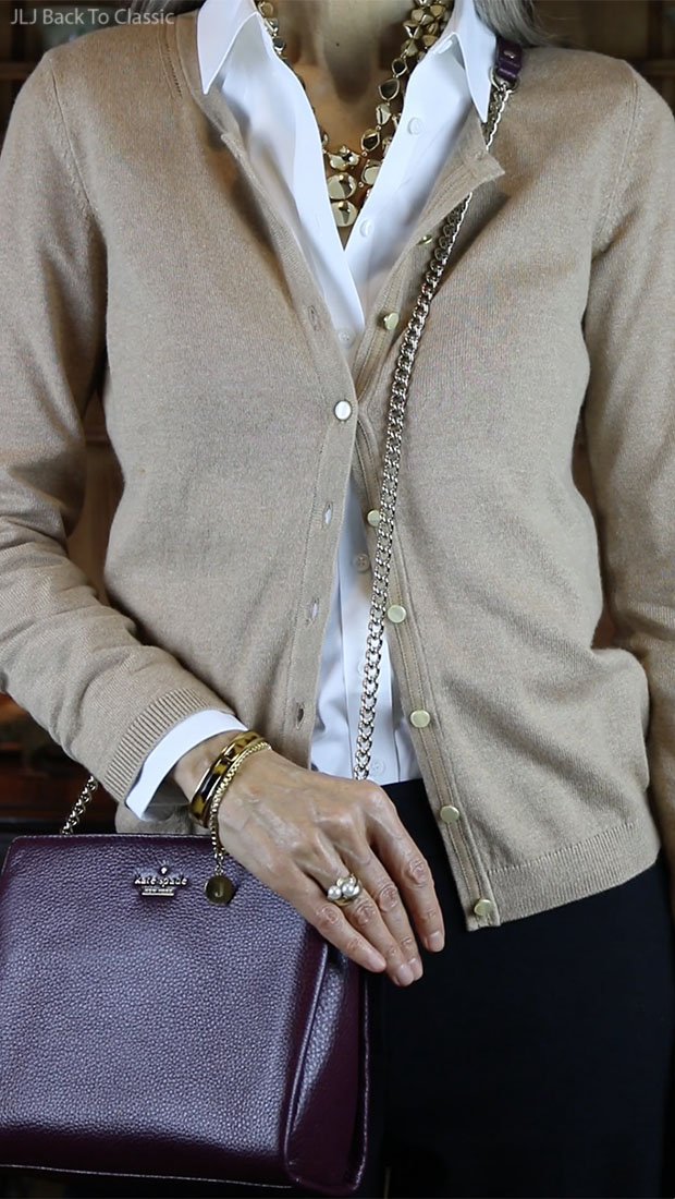 Classic-Fashion-Over-50-Talbots-Charming-Cardigan-Burgundy-Kate-Spade-Bag