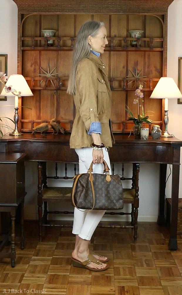 Camel-Faux-Suede-Utility-Jacket-Louis-Vuitton-Speedy-30-White-Skinny-Jeans