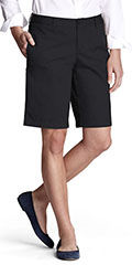 Lands-End-Womens-Plain-Front-Chino-Shorts-Black