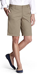 Lands-End-Womens-Plain-Front-Chino-Shorts-Khaki