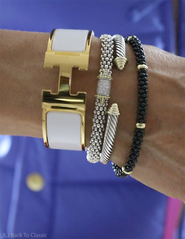 Classic-Fashion-Style-Over-40-50-Hermes-Lagos-Yurman-Arm-Party-Stack