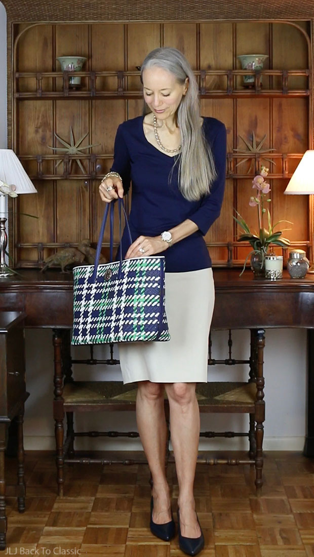 Preppy-Over-40-Navy-Tee-Khaki-Pencil-Skirt-Tory-Burch-Plaid-Tote