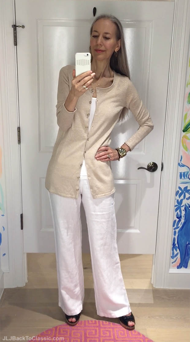Classic-Fashion-Over-40-Lilly-Pulitzer-Metallic-Cardigan-And-White-Linen-Pant