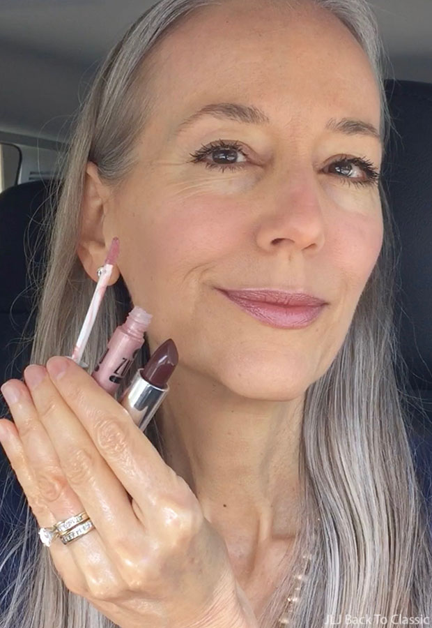 Classic-Beauty-Over-50-Gabriel-Matte-Cerise-Lipstick-Zuzu-Dolce-Vita-Lip-Gloss