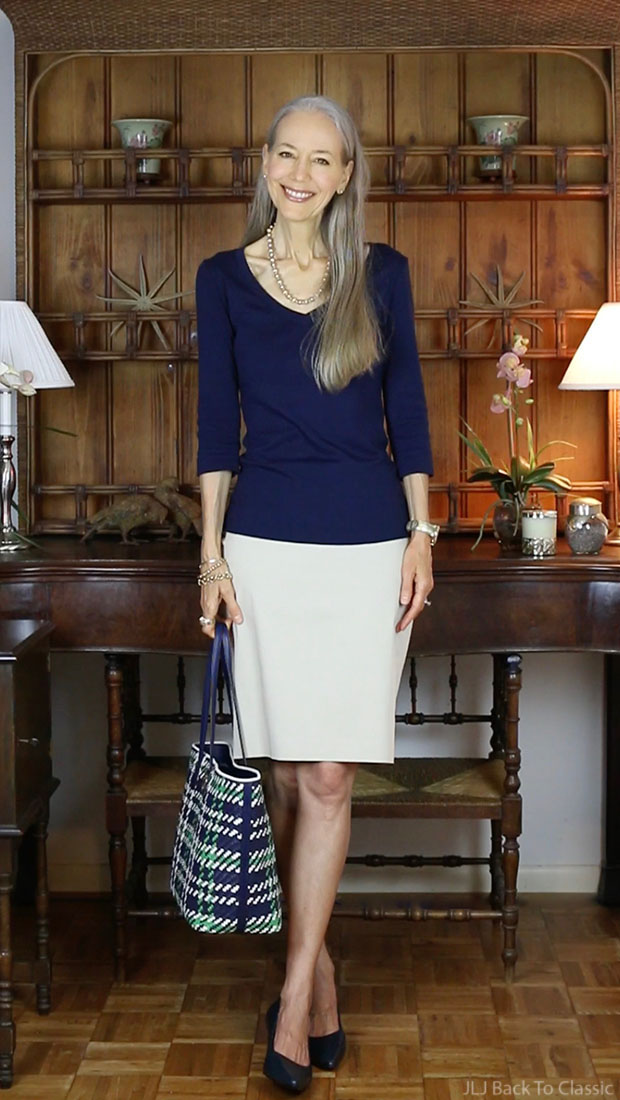 Classic-Preppy-Fashion-Over-40-Navy-Tee-Khaki-Pencil-Skirt-Janis-Lyn-Johnson