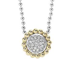 Lagos-18k-Gold-Sterling-Silver-Diamond-Caviar-Circle-Pendant