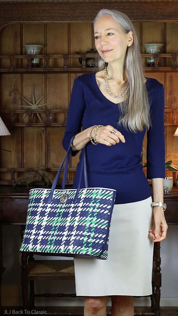 Preppy-Fashion-Over-40-Navy-Tee-Khaki-Pencil-Skirt-Tory-Burch-Plaid-Tote