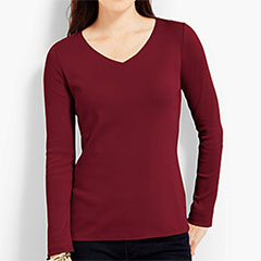 Talbots-Cotton-Long-Sleeve-V-Neck-Tee-Wine