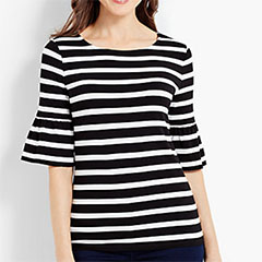 Talbots-Cotton-Striped-Flounce-Sleeve-Tee-Black-And-White