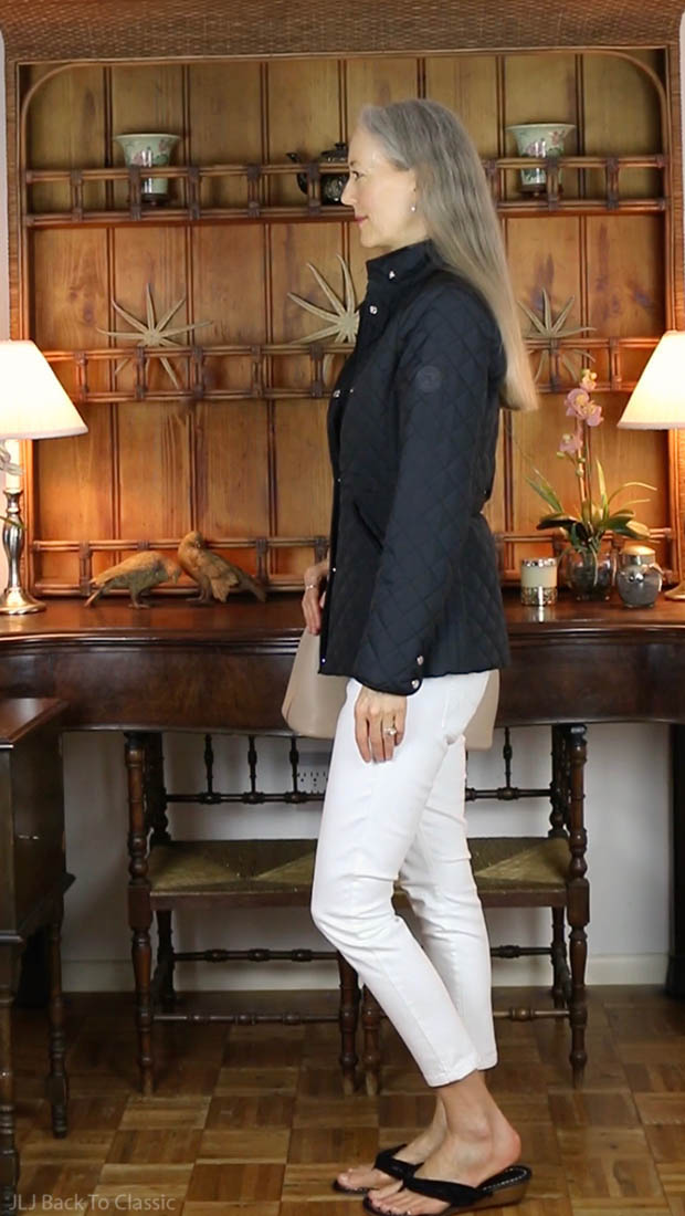 classic-fashion-over-40-50-black-quilted-ralph-lauren-jacket-white-jeans