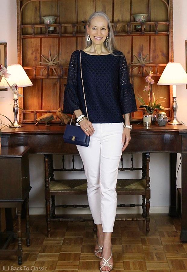 classic-fashion-over-40-Talbots-Navy-Lace-Top-Salvatore-Ferragamo-Vara-Bag