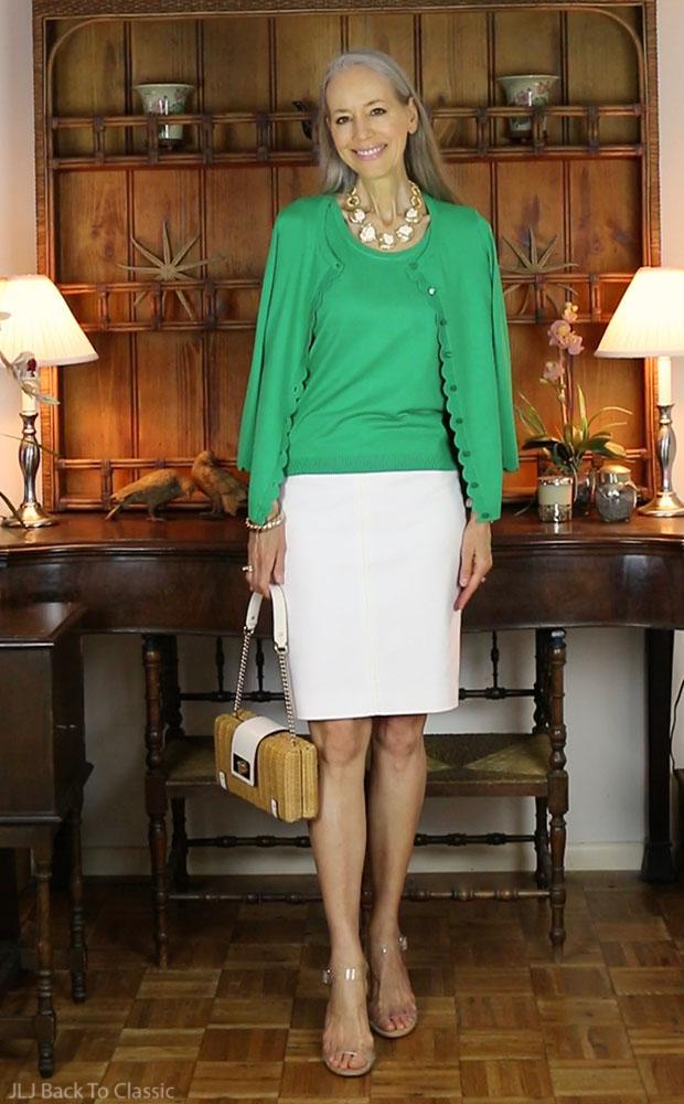 classic-fashion-talbots-clover-charming-cardigan-white-skirt-kate-spade-wicker-bag