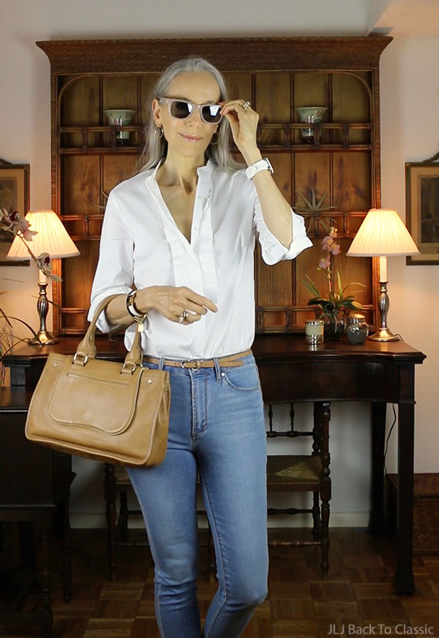 Ann-Taylor-Pleated-Shirt-Sunglasses-Janis-Lyn-Johnson-classic-fashion-over-40