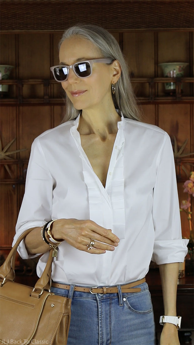 Ann-Taylor-Pleated-Shirt-Sunglasses-White-Michele-Watch-Classic-Fashion-Over-40