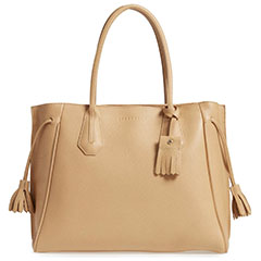 Longchamp Penelope Tassel Drawstring Leather Tote