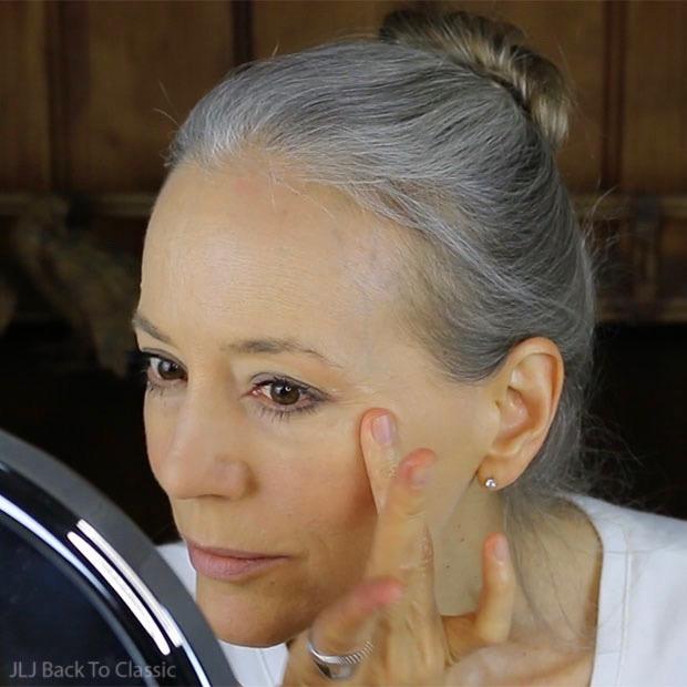 applying-shea-butter-as-highlighter-to-cheek-bones--classic-green-beauty-over-50
