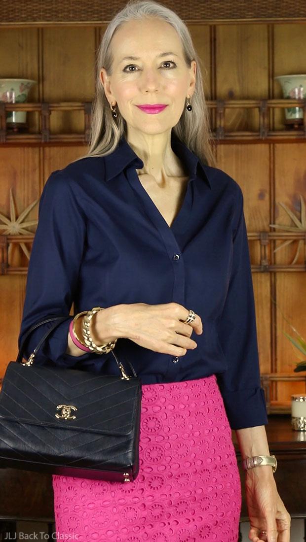 black-chanel-chevron-chic-bag-talbots-magenta-pencil-skirt-Janis-Lyn-Johnson