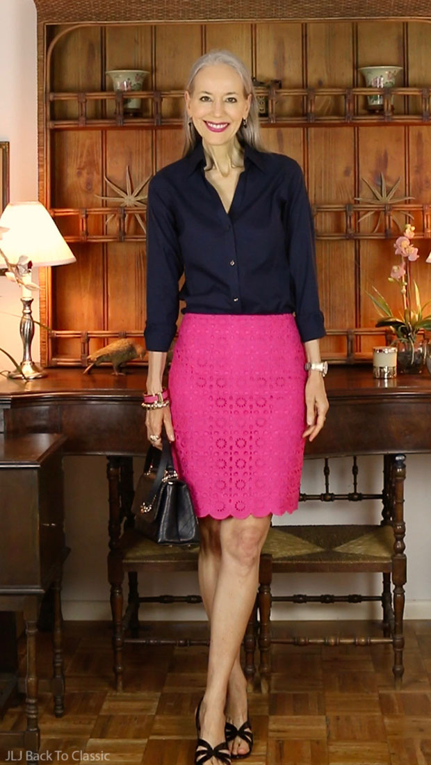 black-chanel-chevron-chic-bag-preppy-talbots-magenta-pencil-skirt-fashion-over-40