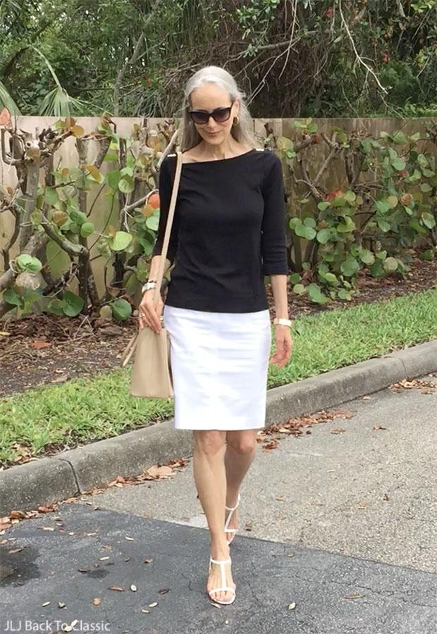 black-tee-white-pencil-skirt-prada-saffiano-tote-classic-style-over-40