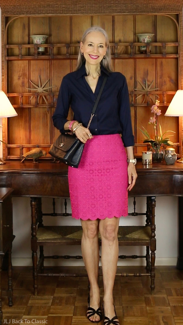 black-chanel-chevron-chic-bag-brooks-brothers-buttonup-talbots-magenta-pencil-skirt