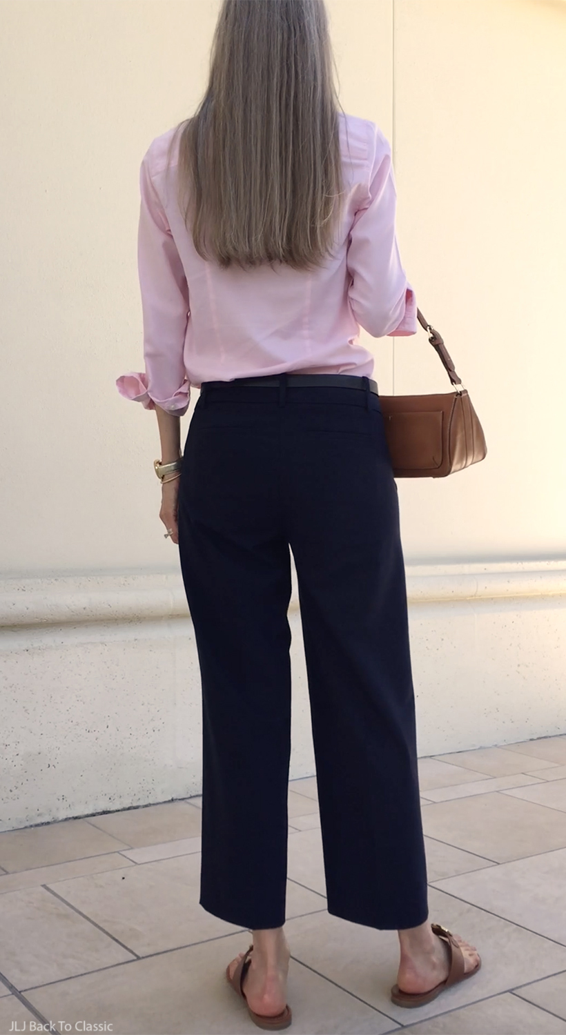 classic-ageless-fashion-cropped-talbots-wide-leg-pants-pink-button-up-shirt